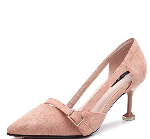 Puro Tacones Terciopelo Zhhzz Puntiagudas De Liangxie Zapatos Rosado Hebillas Fiesta Clásica Formal color sandalias Boda Señoras Confort Serie Súper Altos Ewqfq04v