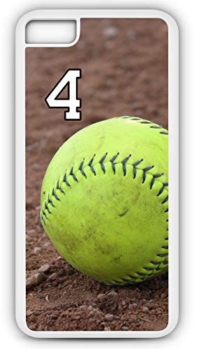iPhone 8 Phone Case Softball S122Z by TYD Designs in White Plastic Choose Your Own Or Player Jersey Number 4