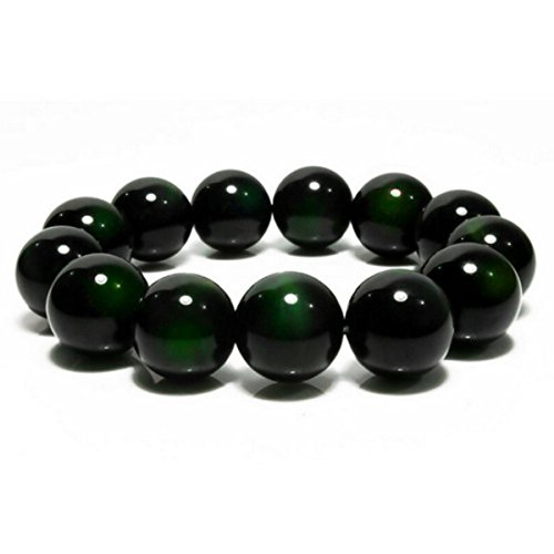 Green Obsidian - Merdia Natural Obsidian Bracelet With A Free Gift Box (10mm Green) [Jewelry]