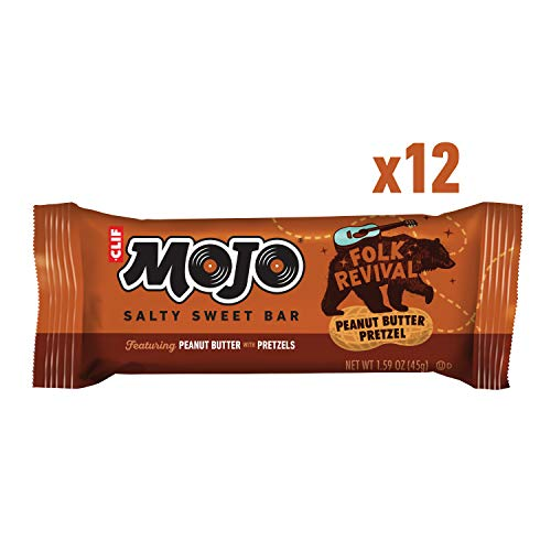 CLIF MOJO - Salty Sweet Snack Bar - Folk Revival Peanut Butter Pretzel - (1.59 Ounce Snack Bar, 12 Count) (Packaging May Vary)