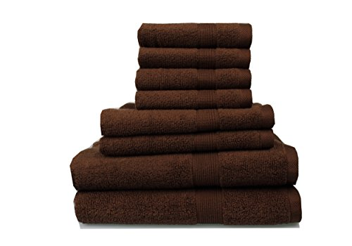 Bath Towel Chocolate (Pure Extravagance - Comfort Line, 8 Piece Towel Set; 2 Bath Towels, 2 Hand Towels and 4 Wash Towels - Cotton - Machine Washable, Hotel Quality, Super Soft and Highly Absorbent, Chocolate)