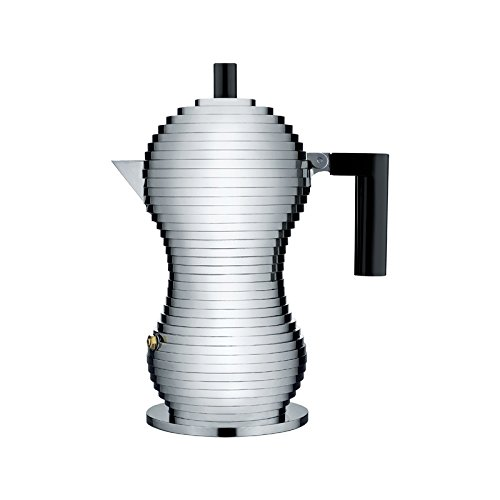 Alessi MDL02/3 B ''Pulcina'' Stove Top Espresso 3 Cup Coffee Maker in Aluminum Casting Handle And Knob in Pa, Black by Alessi