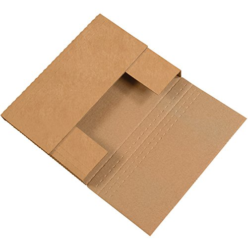 Multi Depth Book Fold Mailers - Boxes Fast BFM962BFK Corrugated Cardboard Easy-Fold Mailers, 9 1/2 x 6 1/2 x 2 Inches, Fold Over Mailers, Adjustable Die-Cut Shipping Boxes, Multi-Depth, Medium Kraft Mailing Boxes (Pack of 50)