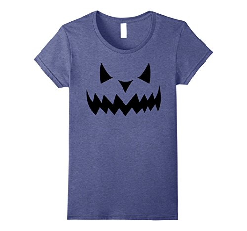 Plus Size Sexy Scarecrow Costumes (Womens Spooky Carved Pumpkin Face On a T-Shirt Small Heather Blue)