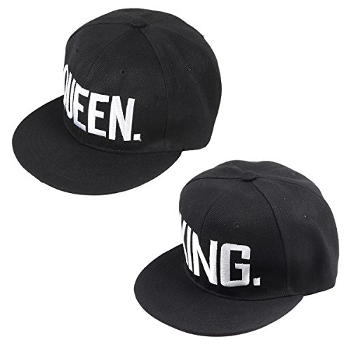 Matching King Queen Snapback Hats or Baseball Caps Perfect Valentine Day Gifts for Women and Men by Qiaonai