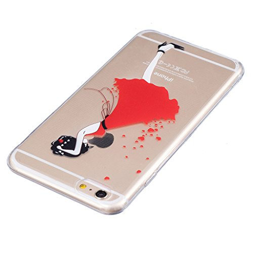 "Coque iPhone 6 Plus / 6S Plus, IJIA Ultra-mince Transparent Rouge Jupe Filles Sexy TPU Doux Silicone Bumper Case Cover Shell Housse Etui pour Apple iPhone 6 Plus / 6S Plus 5.5"" + 24K Or Autocollant"