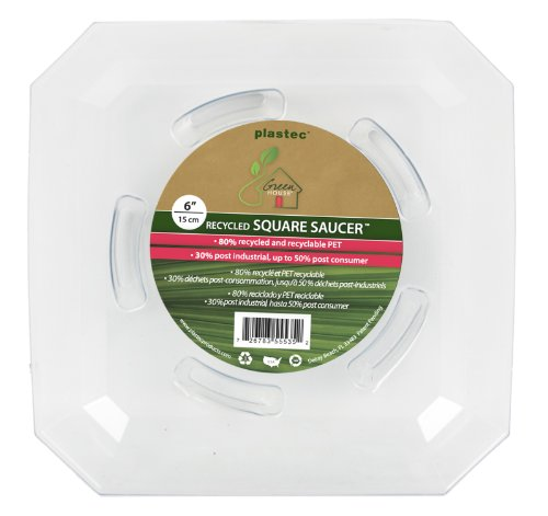 [Plastec SQRO6 Square Recycled Plant Saucer, 6-Inch] (6
