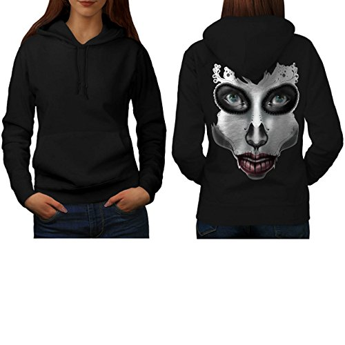 [Sugar Skull Make Up Beauty Face Women S Hoodie Back | Wellcoda] (Sugar Skull Costume Tumblr)