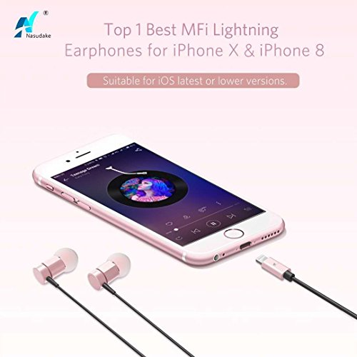 NASUDAKE MFi A1 Plus iPhone Earbuds, Stereo Lightning Headphones w/Noise Cancelling Siri Active Feature Lightning In-Ear Wired Earphone w/Mic & Remote for iPhone X, 8/8 Plus (Rose Gold) by Nasudake (Image #2)