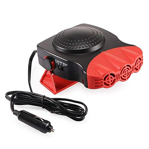 New Portable Car Heater, Auto Electronic Heater Fan Fast Heating Defrost 12V 150W Car Heater, Plug Adjustable Thermostat in Cigarette Lighter, 2 in 1 Heating/Cooling Function 3-Outlet Car Heater (Re