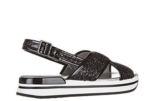 Hogan sandalias mujer en piel nuevo h257 glitter fasce incrociate negro