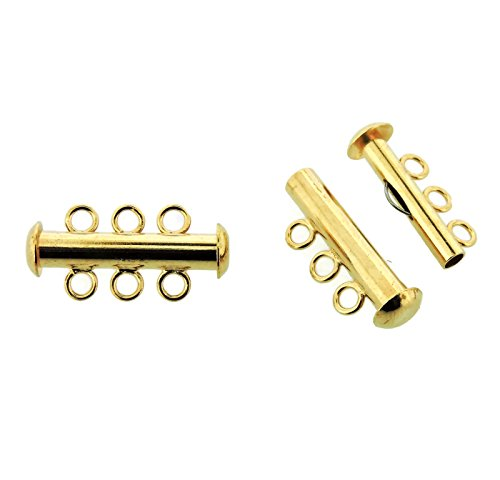 Beadsmith Multi-strand Clasps, Slide Lock, 21mm, 3-strand, 3-hole, 5 Sets (Gold Plated)