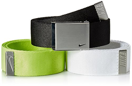 Nike Men's 3 Pack Web Belt, black/White/Cyber, One Size