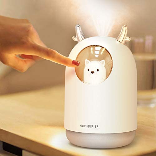 HOPEME USB Cool Mist Humidifier, 300ml Mini Portable Humidifier with 7 Color LED Night Light, Adjustable Mist Mode and Auto Shut-Off, Quiet Operation for Kid, Child, Baby, Nursery White Color