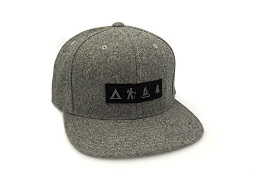 (Men's Hat - Wilderness Area Patch - FlexFit Melton Wool Adjustable Hat)