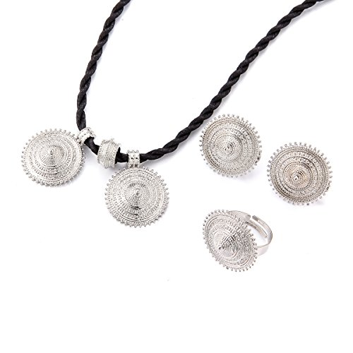 Sliver Plated Chinese Hat Design Ethiopian Necklace Pendant Earring Ring Jewelry Sets
