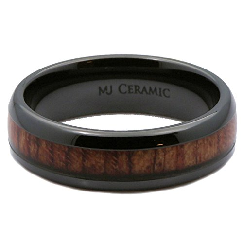 MJ 6mm Black Ceramic Wedding Band, Inlay Made from Real Koa Wood, Ring Size 10.5