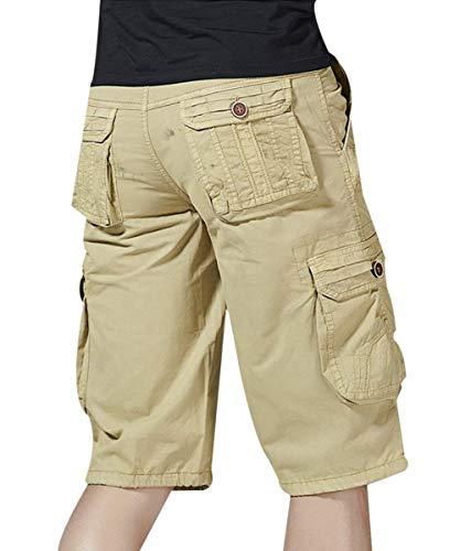 Pantaloni Allenamento tasche Per Beige Marca Libero Tempo Pantaloncini Multi Colore Bolawoo Con Da Sportivi Il Di Solido Mode Cargo Bermuda Uomo WDH29IE