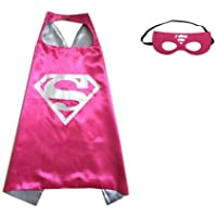 (SuperGirl-Hot Pink 2) ROXX Superhero Superman Kids Girl And Boy Cape Mask Costume for Child