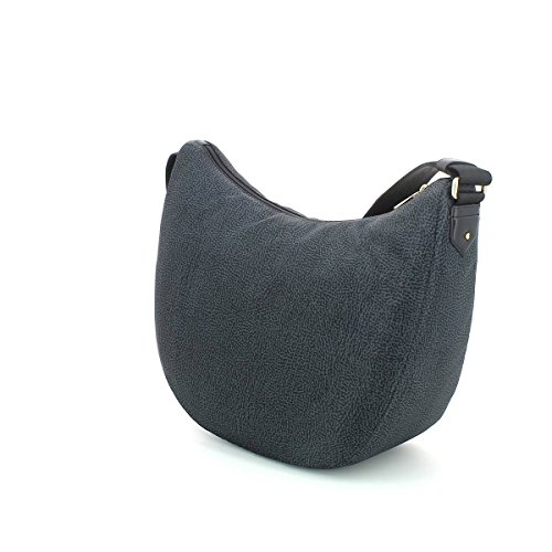 Borbonese LUNA BAG MEDIUM IN JET O.P. E PELLE colore nero