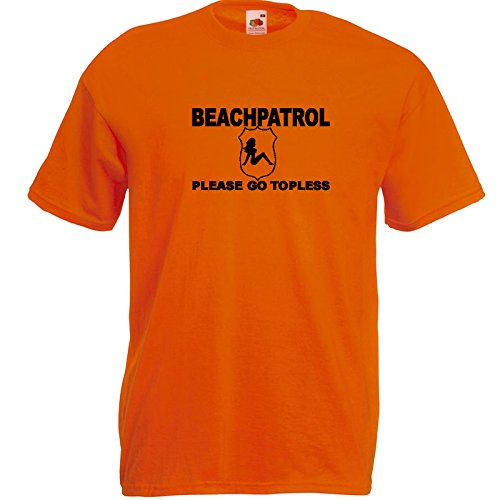 Beach Patrol T-Shirt Orange / Druck Schwarz