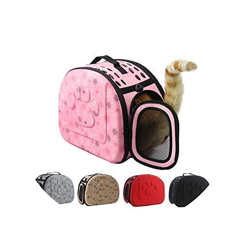 Portable Cats Handbag Foldable Travel Bag Puppy Carrying Mesh Shoulder Pet Bags S/M/L,L Gray 45X32X38Cm ()