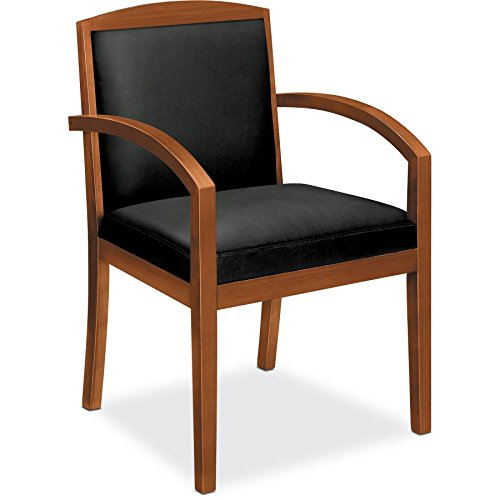 HON Topflight Wood Guest Chair – Leather Seated Guest Chair with Arms, Office Furniture, Bourbon Cherry Finish VL852