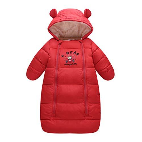 Fairy Baby Newborn Unisex Baby Winter Thick Fleece Sleeping Bag Bunting Wearable Blanket Size 3-6M (Red)