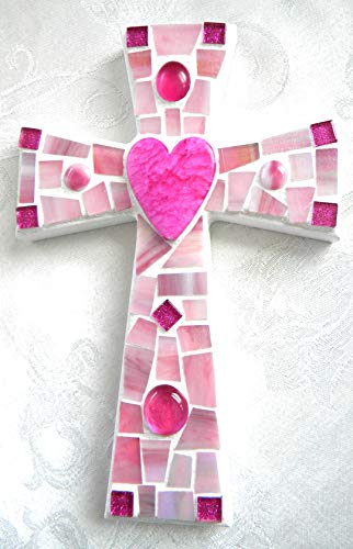 Pink HEART Mosaic Cross - Iridescent Pink Stained Glass Art Piece