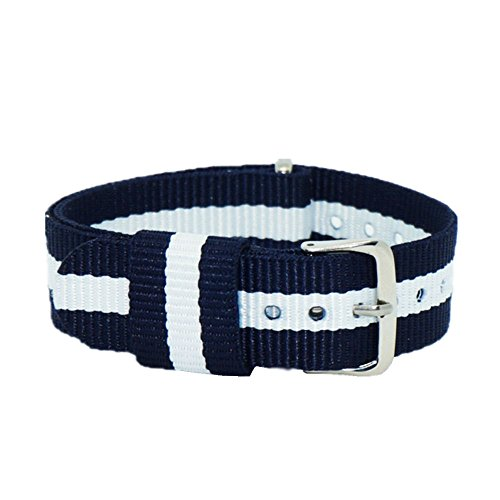 TO Nylon Ballistic Straps Canvas Straps with Stainless Steel Buckle(18mm,20mm,22mm) (20mm, Navy/White/Navy) ()