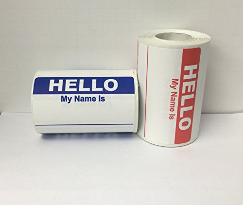 "500 Labels 3-1/2"" x 2-3/8"" Hello My Name Is ENGLISH Name Tag Identification Stickers (250 RED/250 BLUE)"