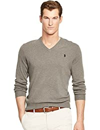 Men's Polo V-Neck Pima Cotton Pony Logo Sweater
