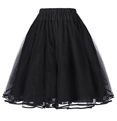 Belle Poque Retro Dress Petticoat Underskirt for Women Black S