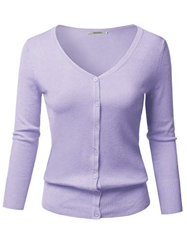 Solid Button Down V-Neck 3/4 Sleeves Knit Cardigan Lilac M