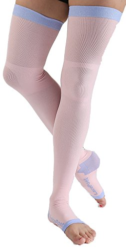 Lace Poet Pink Yoga/Sleep Thigh-High Compression Toeless ...