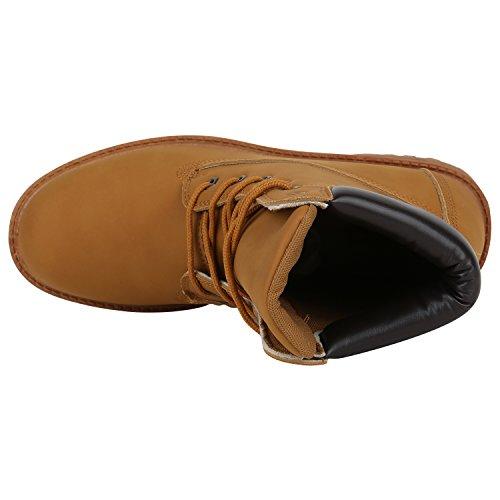 Stiefelparadies Herren Worker Boots Leicht Gefütterte Schuhe Schnürboots Outdoor Schnürschuhe Profilsohle Wildleder-Optik Schnürer Flandell Hellbraun Bexhill