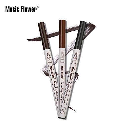 Music Flower Waterproof Microblading Fork Tip Liquid Eyebrow Pen (Black #4)