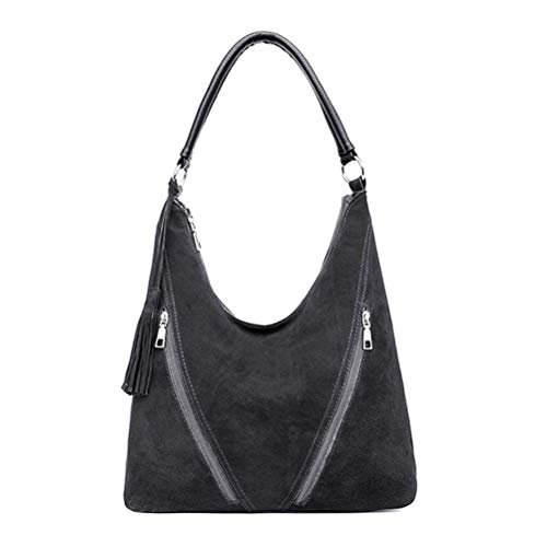 Suede Hobo Bag Soft Leather...