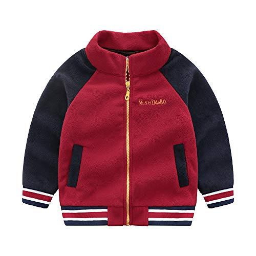 (Geetobby Children Jacket Fleece Colorblocked Zip Baseball Coats Zipper)