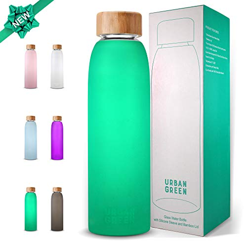 Glass Water Bottle with Protective Silicone Sleeve and Bamboo Lid by Urban green, 18oz, 1extra 304 Stainless Steel Lid with Handle, BPA Free, Dishwasher Safe, Gift Box