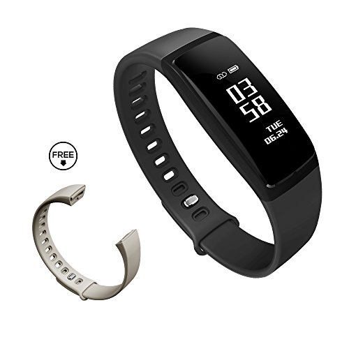 K-berho Fitness Tracker with Heart Rate Monitor Blood Pressure Running Pedometer Smart Bracelet Bluetooth Waterproof Message Push for IOS & Android (Black)