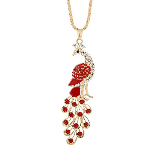 NYKKOLA Long Peacock Pendant Chain Necklace with Rhinestone Crystal- 18K Gold Plated Necklace,Lovely Gifts for Women Girls,Red