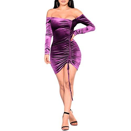 Sexy Robe Moulante Manches Longue Robes de soire et de Cocktail paules Dnudes Vintage Robe Purple