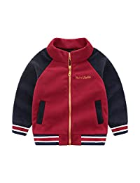 Naladoo Toddler Kids Baby Boy Fleece Patchwork Zipper Jacket Sport Coat Outwear