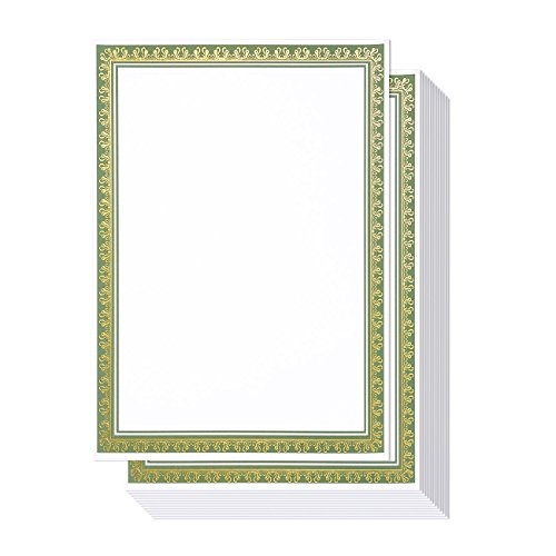 50 Pack Award Certificate Paper - Embellished Green & Gold Foil Border Blank Certificate Computer Paper for Recognition, Graduation Diploma, Schools, Employees - 8.5 x 11 Inches - 50 Count