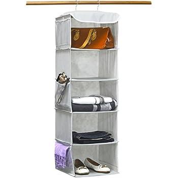 SimpleHouseware 5 Shelves Hanging Closet Organizer, Gray