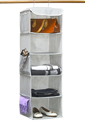 (SimpleHouseware 5 Shelves Hanging Closet Organizer, Gray)