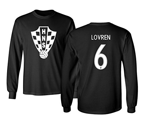 Tcamp Croatia 2018 National Soccer #6 Dejan LOVREN World Championship Men's Long Sleeve T-Shirt (Black, Adult Medium)