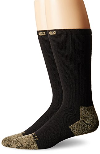 Carhartt Men's 2 Pack Full Cushion Steel-Toe Cotton Work Boot Socks, Black, Shoe Size: 6-12