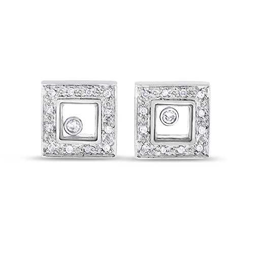 0.20 CT Natural Floating Diamond in Glass Earrings in Solid 14k White Gold (Diamond Floating Solid Gold)